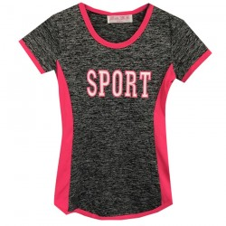 T-shirt sport pour fille bande fuchsia fluo  - col rond