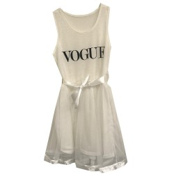 Robe bretelle jupe en mousseline - Vogue