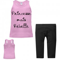 Set débardeur + legging 3/4 pour fille - Princesse mais rebelle