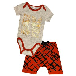 a5fa71148a6f2 Ensemble bébé garçon body + short imprimé doré Too hip to hop