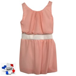 Robe bretelle jupe en mousseline rose