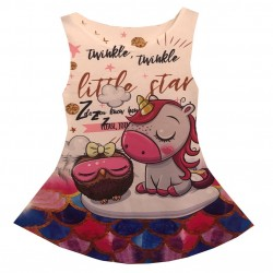 Robe Fille sans manches du 4 au 14 ans imprimé licorne little star