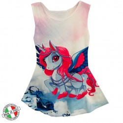 Robe Fille sans manches du 4 au 14 ans imprimé licorne and LOve