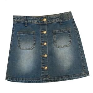 Promo - Jupe en jean pour fille boutonné devant et poche palqué