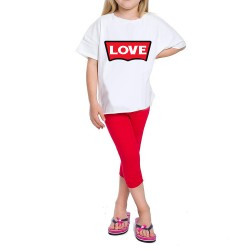 Ensemble Tshirt + legging court pour fille - LOVE