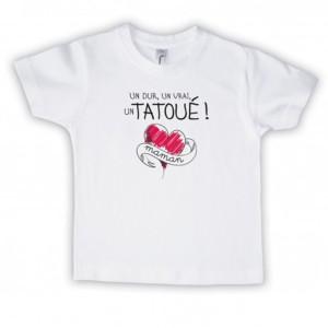 T-shirt garçon blanc manche courte - Un dur , un vrai , un tatoué