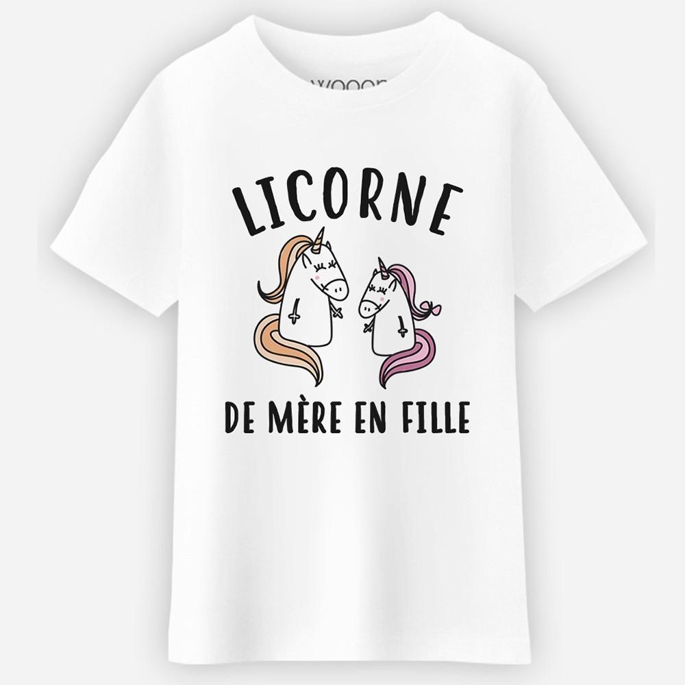 T-shirt blanc fille - Licorne de mere en fille