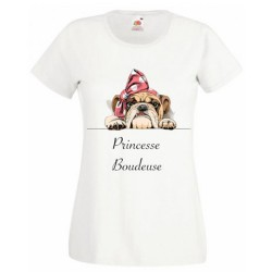 T-shirt blanc fille - Princesse boudeuse