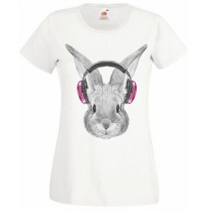 T-shirt blanc fille - Lapin