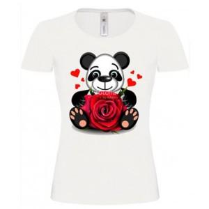 T-shirt blanc fille - Panda fleur