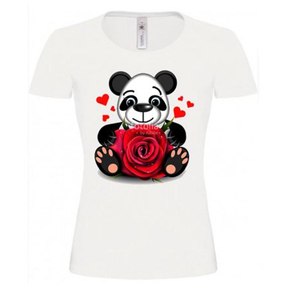 T-shirt blanc fille - Panda coeur