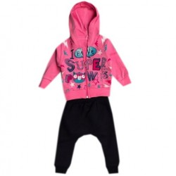 Set bébé fille sweatshirt zippé + pantalon - Fuschia