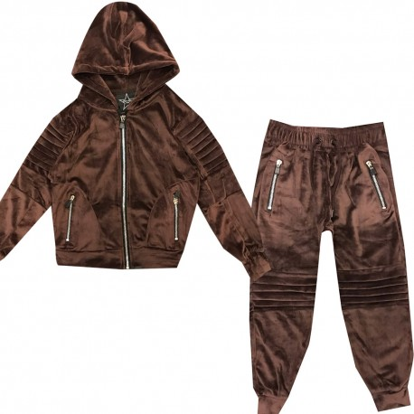 Jogging enfant en velours integralement zippé - BE17012