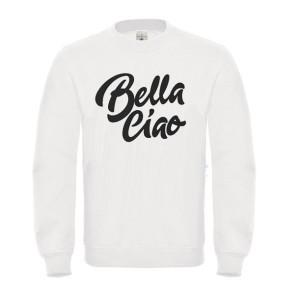 Sweatshirt enfant en moleton 80% coton blanc - Bella ciao