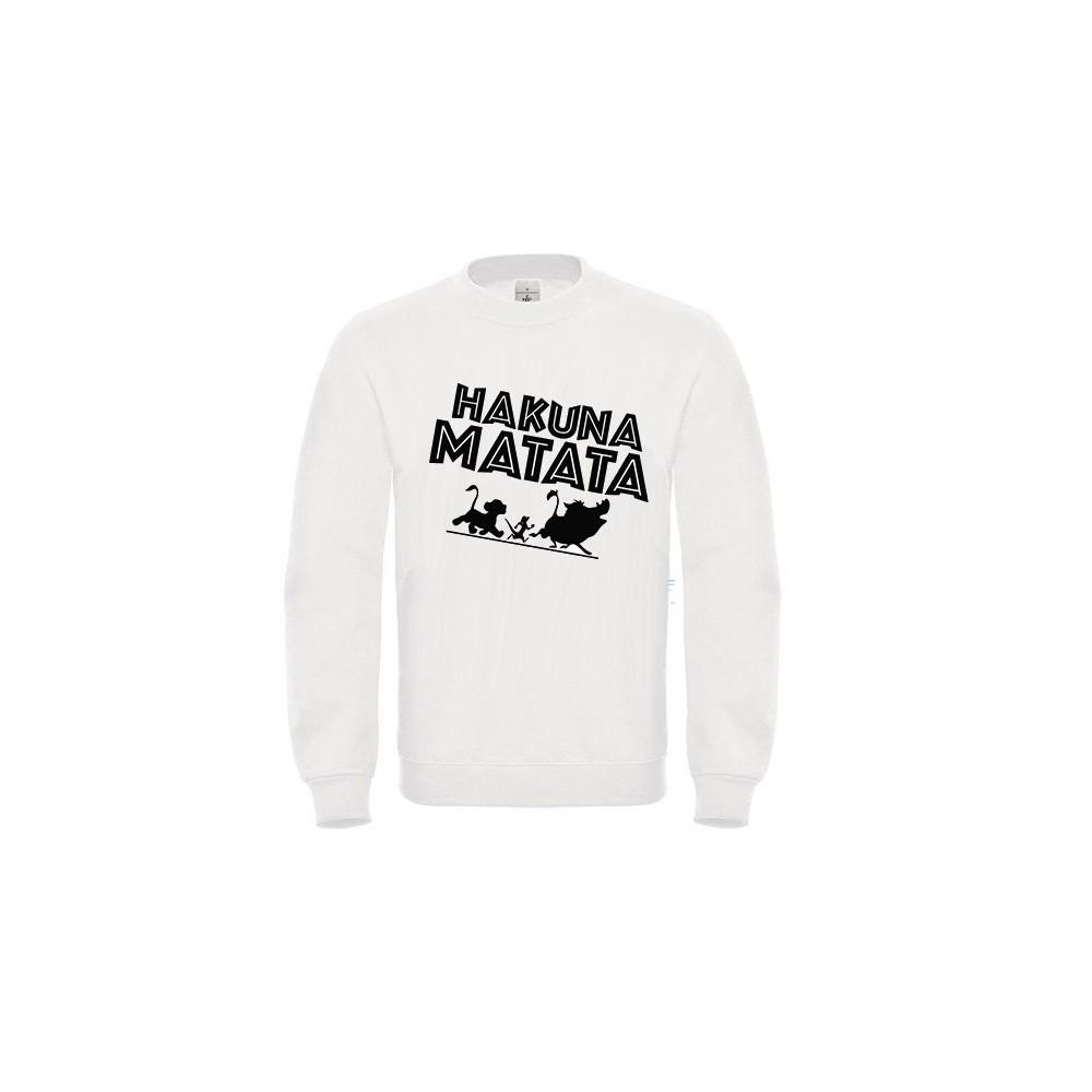 Sweatshirt enfant en moleton 80% coton blanc - Hakuna matata