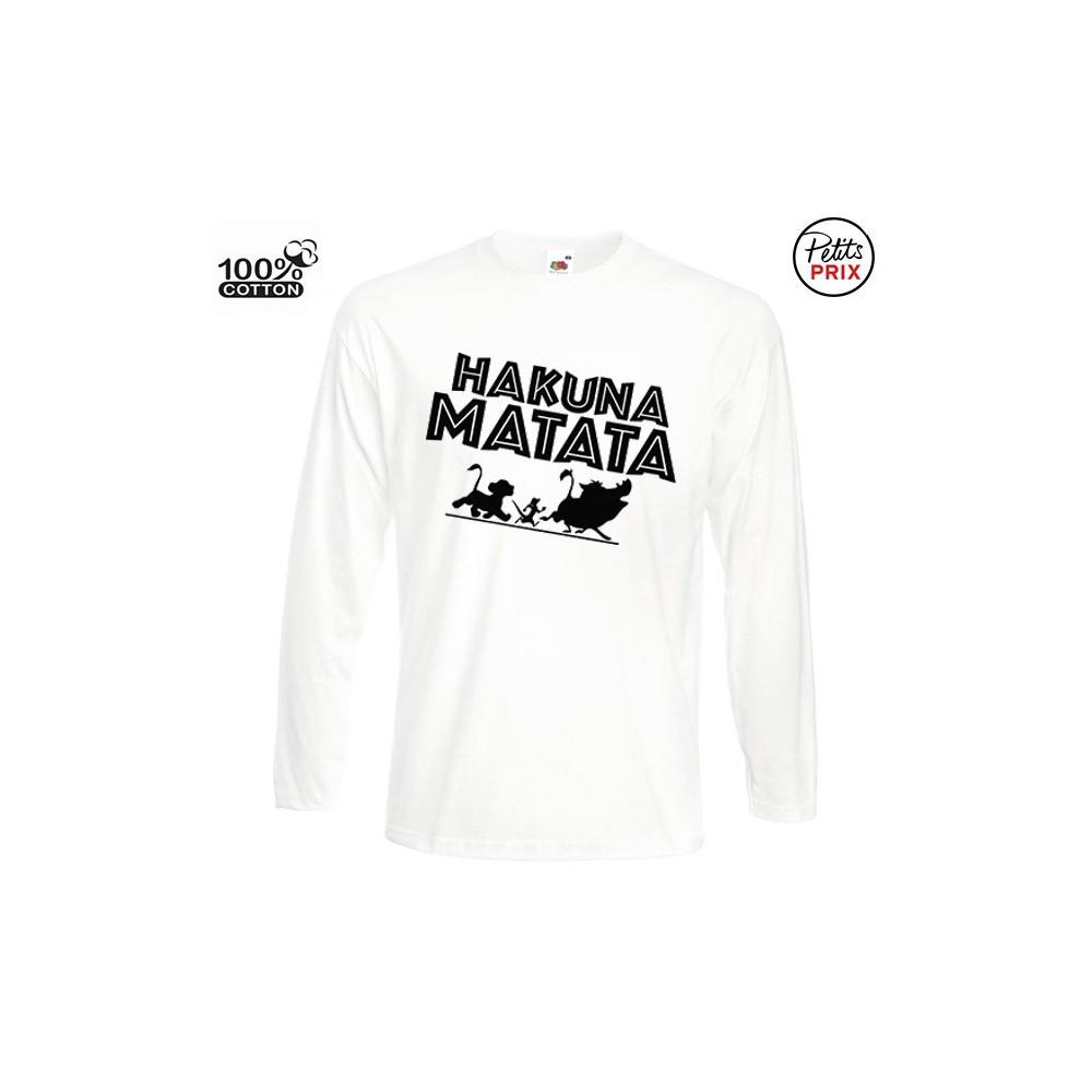 T-shirt enfant blanc 100% coton manche longue - Hakuna matata