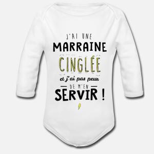 BODY BÉBÉ MIXTE MANCHES LONGUE - J'AI UNE MARRAINE CINGLE.....