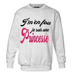 Sweatshirt pour fille avec écriture Je suis J'm'en fou je suis une princesse