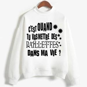 Sweatshirt enfant en moleton 80% coton blanc - Je veux des paillettes dans ma vie modele 2