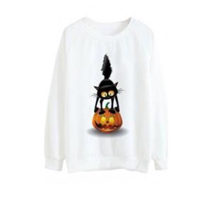 Sweatshirt pour fille speciale halloween blanc - 1 chat sur une citrouille