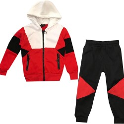 Jogging enfant en molleton integralement zippé - Rouge/noir/Blanc - BL-138-3