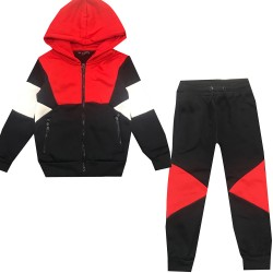 Jogging enfant en molleton integralement zippé - Rouge/marine/Blanc - BL-138-2