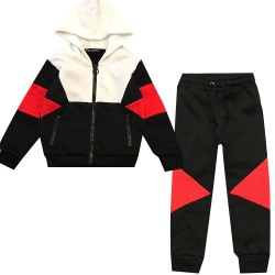 Jogging enfant en molleton integralement zippé - Rouge/noir/Blanc - BL-138-1