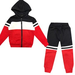 Jogging enfant en molleton integralement zippé - Rouge/marine/Blanc - BL-139-2