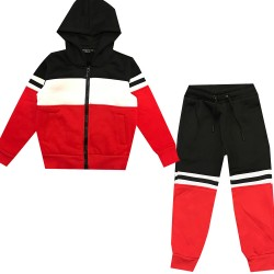 Jogging enfant en molleton integralement zippé - Rouge/noir/Blanc - BL-139-1