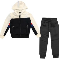 Jogging enfant en molleton integralement zippé - Rouge/noir/Blanc - BL-140-2