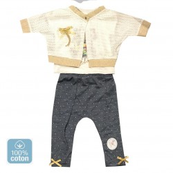 Ensemble bébé fille gilet en mail, top et pantalon