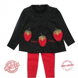 Ensemble t-shirt + Top ML et legging 100% coton - Brodé pomme