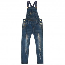 Salopette Jeans pour fille coupe slim used