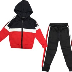 Jogging enfant en molleton integralement zippé - Rouge/marine/Blanc - BL-137-2