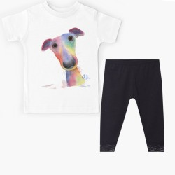 Ensemble Tshirt + legging court bas dentelle pour enfant -WHIPPET GRAND DOG HANK