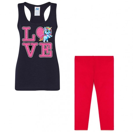 Black/red series - Set débardeur + legging 3/4 pour fille - LOVE LICORNE