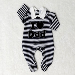 Combi layette appli I LOVE DAD - rayé marine