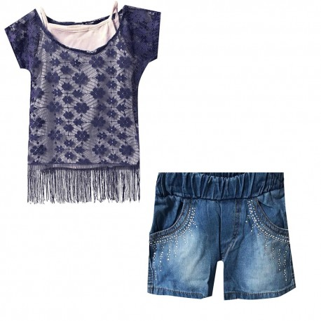 Set 3 pieces top filet + débardeur+ short en jeans du 2 ans au 5 ans - Marine