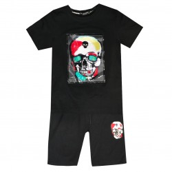 Ensemble sport Tshirt + short patch TETE DE MORT - Noir