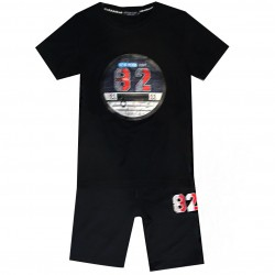 Ensemble sport Tshirt + short patch NEWYORK 82 - Noir