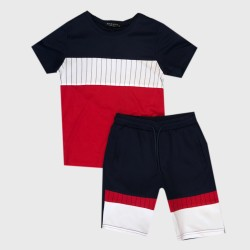 Ensemble sport Tshirt + short tri color - Marine/blanc/rouge