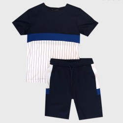 Ensemble sport Tshirt + short tri color - Marine-bleu-blanc