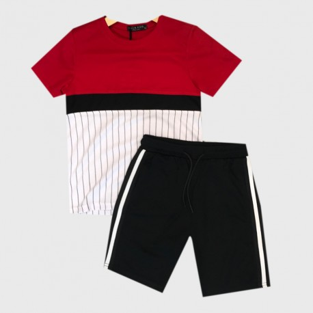 Ensemble sport Tshirt + short tri color - Rouge/noir/blanc