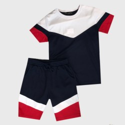 Ensemble sport Tshirt + short empiècement en V - Marine/blanc/rouge