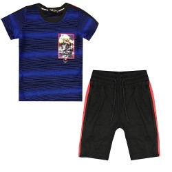 Ensemble sport Tshirt + short avec ecusson bull dog - Bleu