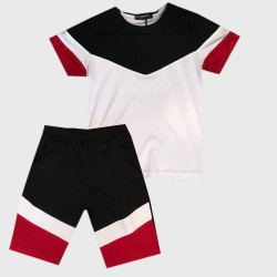Ensemble sport Tshirt + short empiècement en V - Blanc/noir/rouge