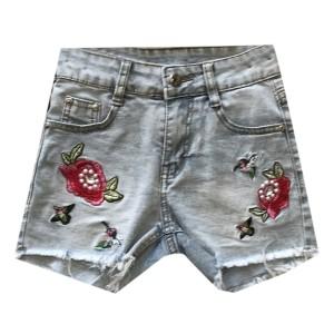 Short en jean pour fille detail brodé fleurs