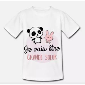 T-shirt enfant blanc - Future grande sœur - Bientôt grande-sœur